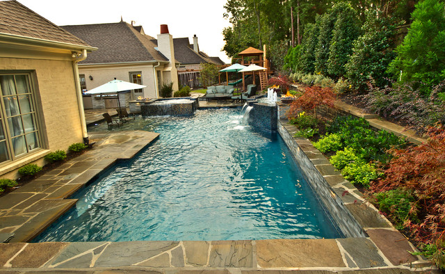Collierville Modern Geometric Pool, Spa, & Outdoor Living Design