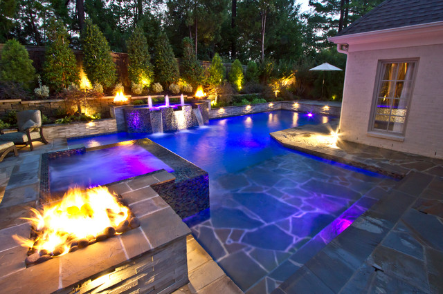 Collierville modern geometric pool spa outdoor living for Garden spas pool germantown tn