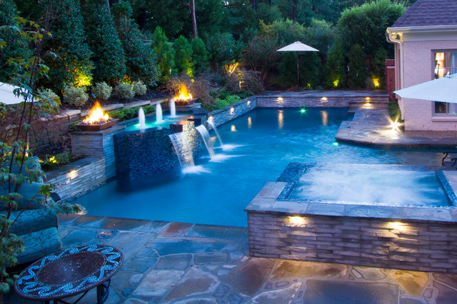 Modern Geometric Pool, Spa, & Outdoor Living Design modernpool