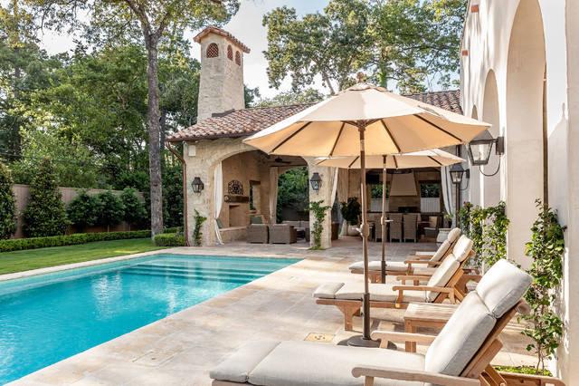 Colombian romantic mediterranean pool houston by for Exterior worlds landscape design