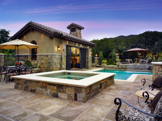Colorado tuscan house and pool mediterranean pool for Tuscan home plans with casitas