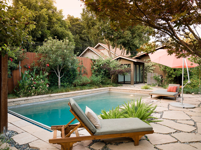 Comfy bungalow contemporary swimming pool hot tub los angeles by angela dechard design for Swimming pool demolition los angeles