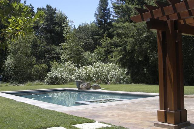 Contemporary Craftsman Home, Portola Valley craftsman-pool
