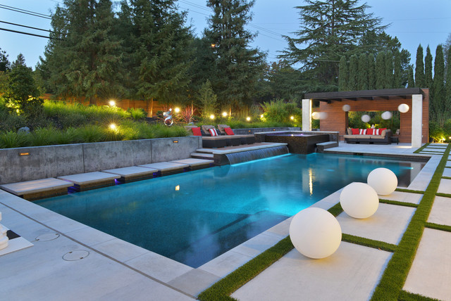 Contemporary Garden And Pool Contemporary Swimming Pool And Hot Tub
