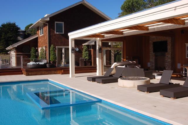 Contemporary Hillside Garden Modern Pool San