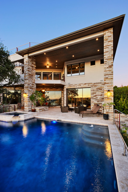 Contemporary lake house contemporary pool austin for Custom pool house