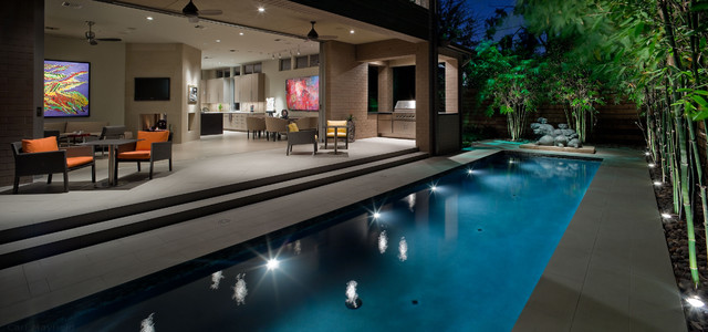 Contemporary Landscape And Pool Lap Design Contemporary Pool