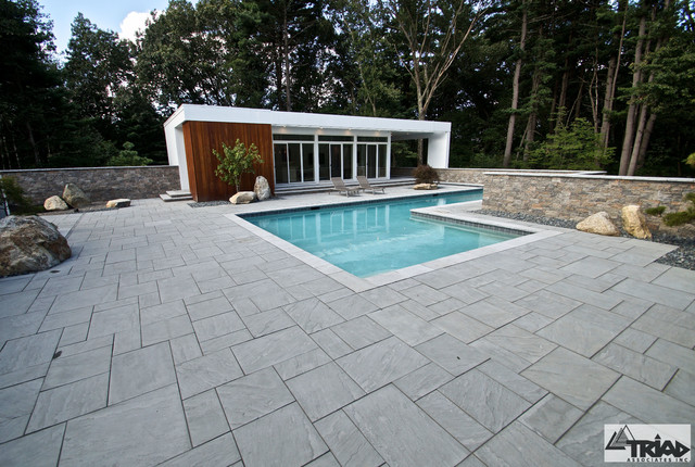 Contemporary paver pool deck contemporary pool for Best pavers for pool deck