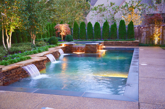 Pool With Hot Tub And Water Feature Contemporary Swimming