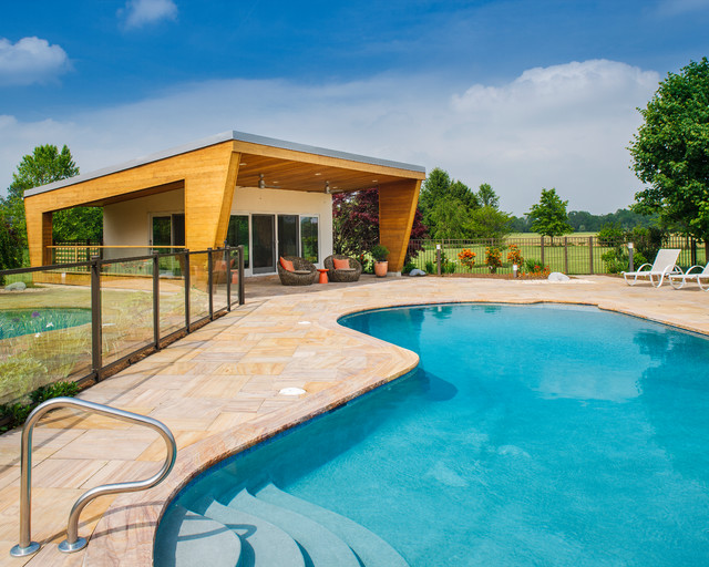 contemporary pool house modern pool other metro by new outlooks construction. Black Bedroom Furniture Sets. Home Design Ideas