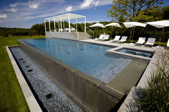Infinity edge negative edge rimless pools contemporary for Pool negative edge design