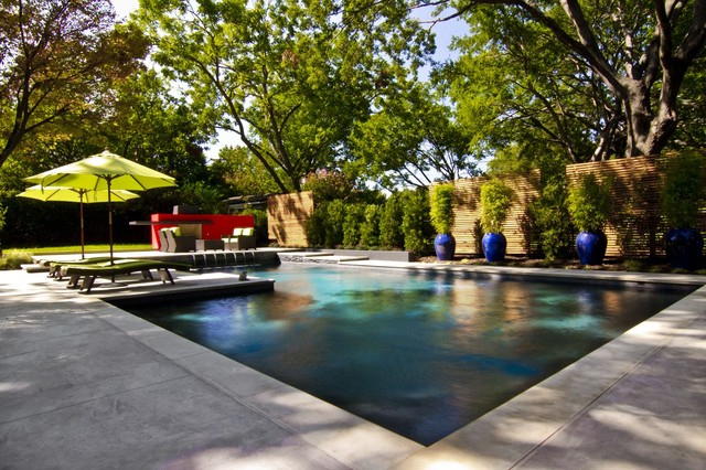 Inspiration For A Large Contemporary Concrete And L Shaped Pool Remodel In  Dallas