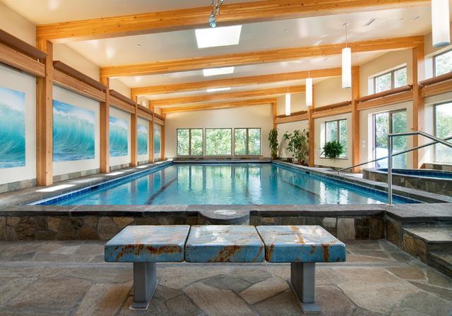 Contemporary Timber Frame Home - Contemporary - Pool - new ...