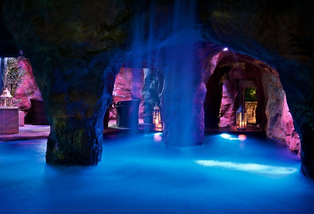 """Cool Pools"" in Oklahoma with Swim Through Grotto and Waterfall - Mediterranean - Pool - other ..."