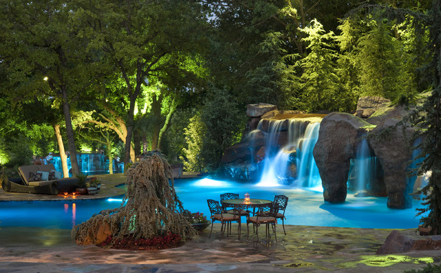 cool pools in oklahoma with swim through grotto and waterfall mediterranean pool - Cool Pools With Waterfalls In Houses