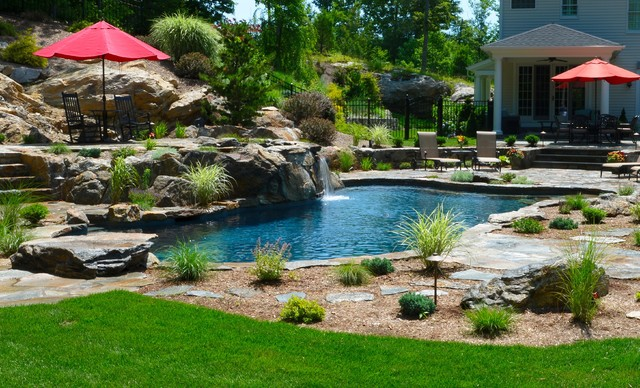 Pool spa built into hillside rustic pool new york for Pool design hillside