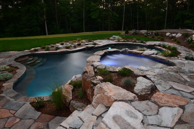 Pool Spa Built Into Hillside Rustic Swimming Pool