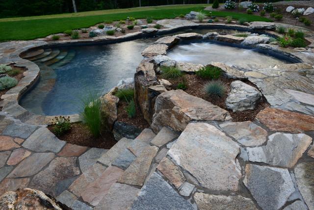 Pool spa built into hillside rustic pool new york for Hillside pool ideas