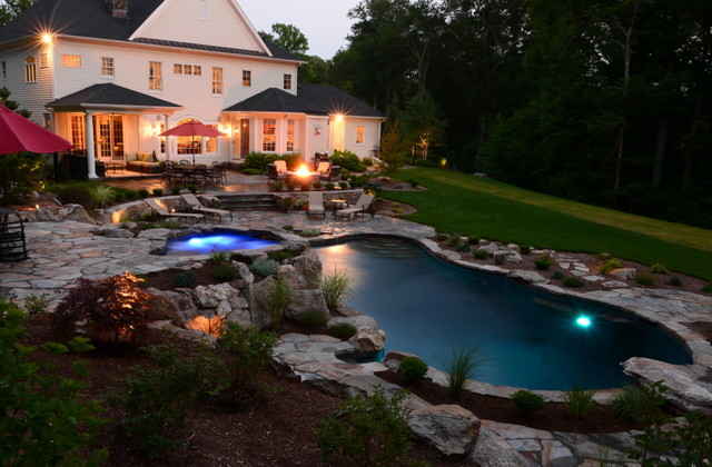 Pool Spa Built Into Hillside Rustic Pool New York