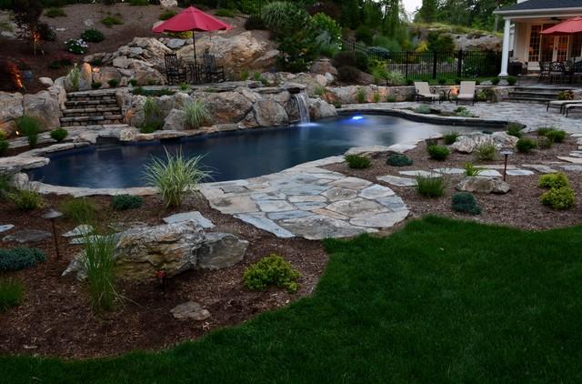 Pool spa built into hillside rustic swimming pool for Pool design hillside