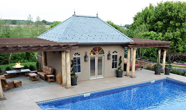 Corcoran pool house mediterranean pool minneapolis for Building a house in minnesota