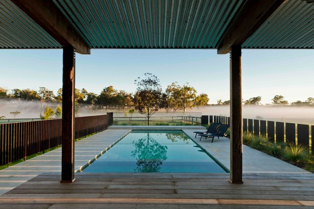 Corten Pool Fence And Pavilion Farmhouse Landscape