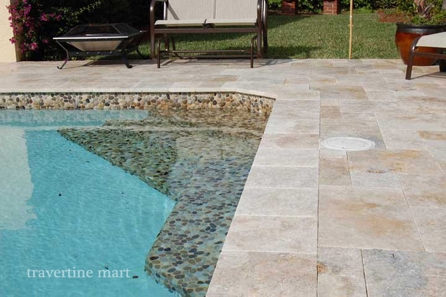 Country Classic Travertine Pavers Traditional Pool