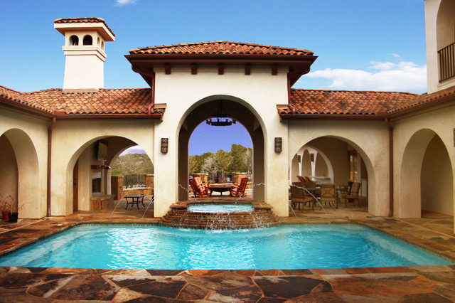 Courtyard pool mediterranean pool austin by Hacienda house plans with courtyard