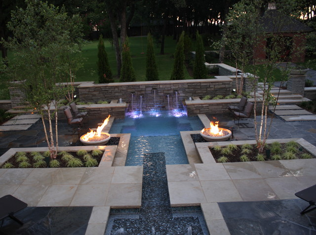 Courtyard SPool - Modern - Pool - Dallas - by Marlin Landscape Systems