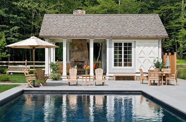 High Quality Inspiration For A Farmhouse Rectangular And Concrete Paver Pool House  Remodel In New York