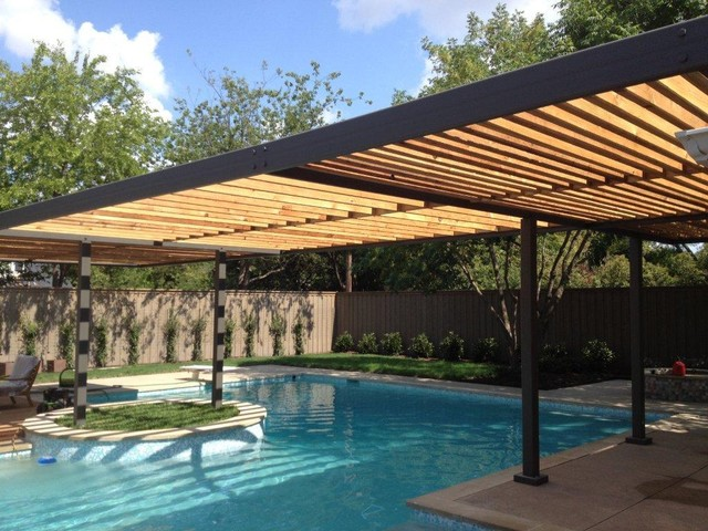 Crooked Lane Pool Renovation And Steel And Wood Arbor