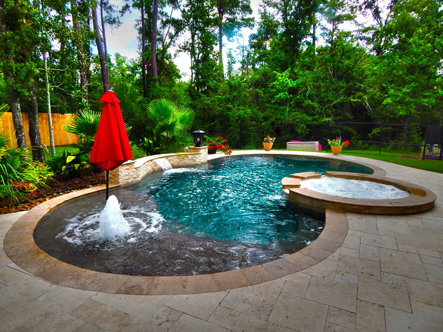 Curved Pool With Fountain And Pergola Contemporary Pool Houston By Absolutely Outdoors
