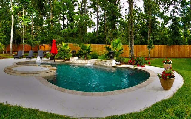 Curved pool with fountain and pergola contemporary for Pool design houston