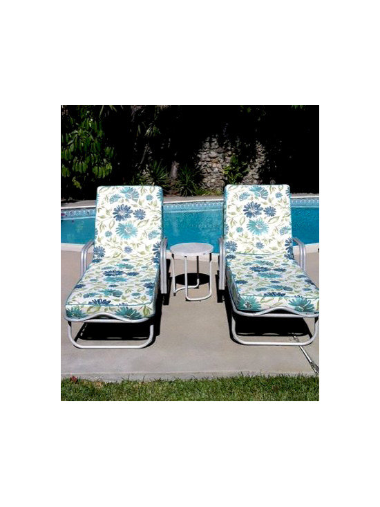 Cushion Source California Chaise Cushions - Custom chaise cushions for vintage pool loungers. Fabric is Sunbrella Violetta Baltic (45760-0002) and Sunbrella Aruba (5416-0000) for welting. (Customer Photo)