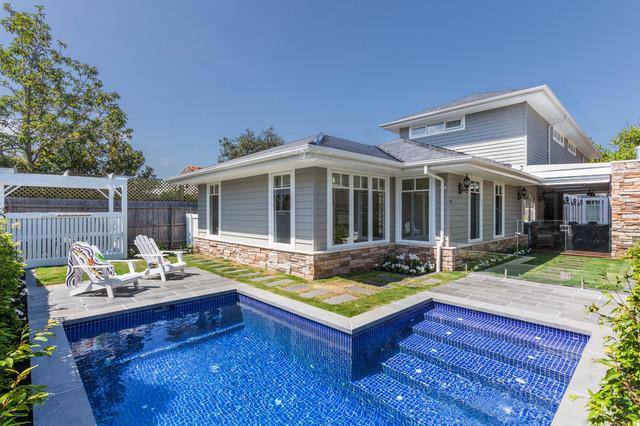 Custom design home hamptons style transitional pool for Pool design hamptons