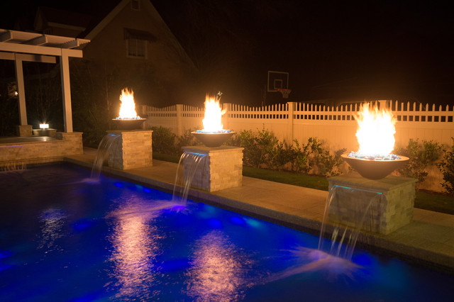 Custom Designed Pool Renovation With Fire Features Traditional