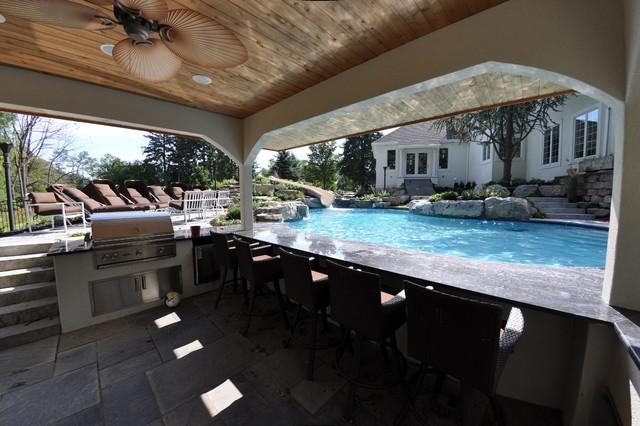 Custom Free Form Pool with Swim Up Bar - Traditional - Pool ...