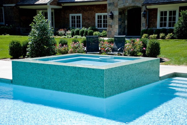 Custom glass tile pool and spa contemporary pool new for Pool design 101
