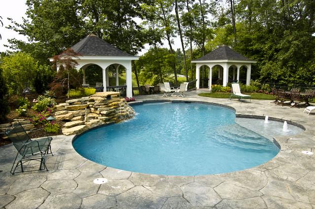 Custom gunite swimming pool with waterfall pool cincinnati by klimat master pools - Gunite swimming pool designs ...