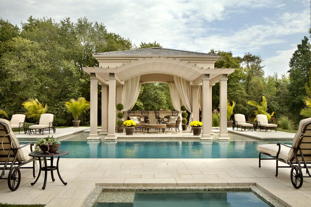 Inspiration for a timeless backyard rectangular hot tub remodel in Philadelphia