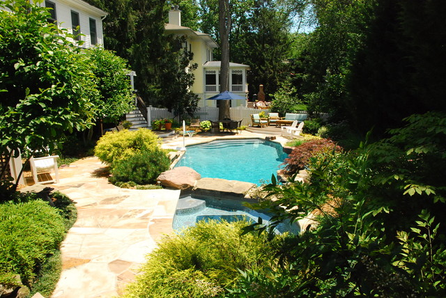 Custom Pool and Spa with Landscaping eclectic-pool