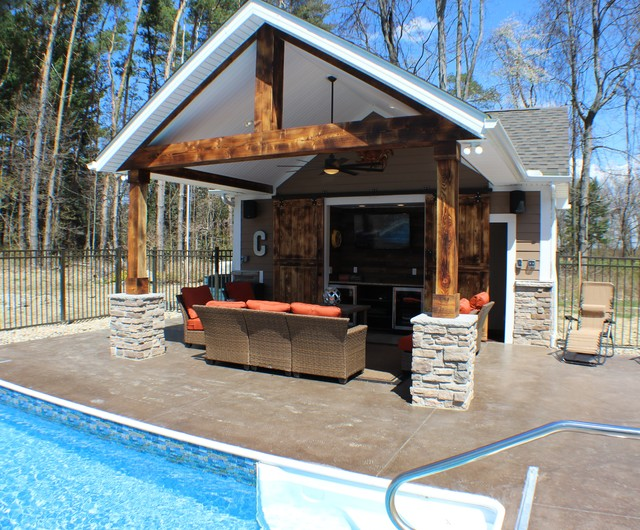 Custom pool house and pool craftsman pool cleveland for Craftsman style shed plans