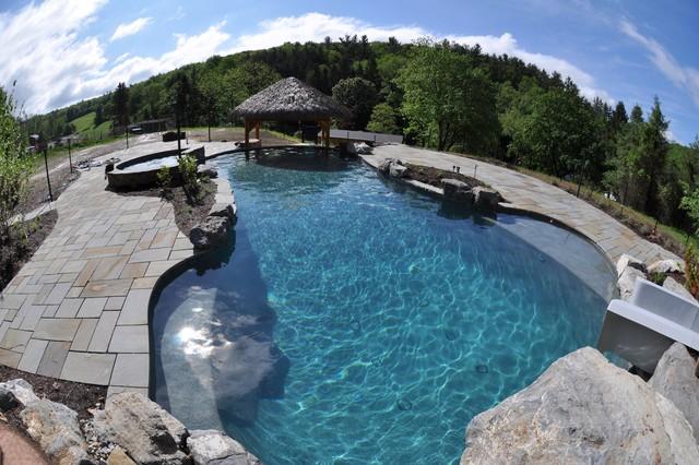 swimming pools u0026 hot tubs custom salt water pool with waterslide and swim up bar - Saltwater Hot Tub