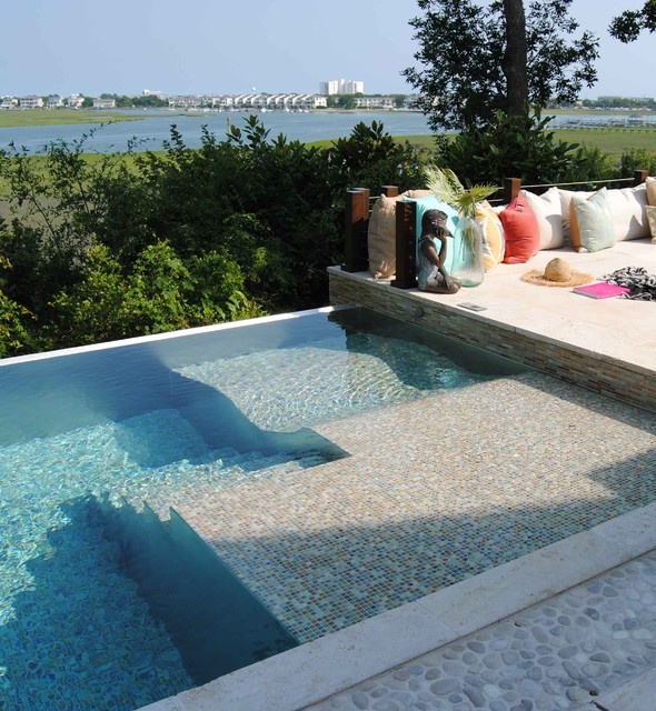 Custom stainless steel pool with infinity edge contemporary pool wilmington by bradford - Infinity swimming pool designs ...