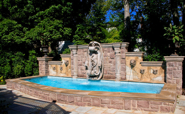 Custom swimming pool with fountains nj eclectic pool for Pool design hamilton nj