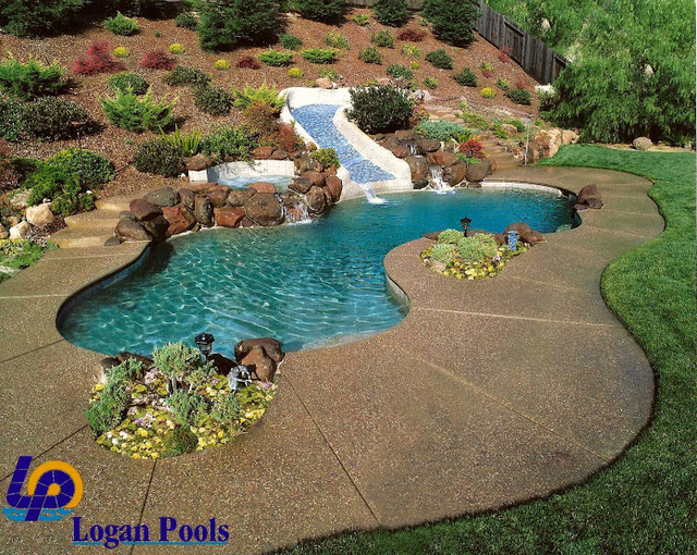 Custom swimming pool with gunite slide tropical pool for Custom indoor pools