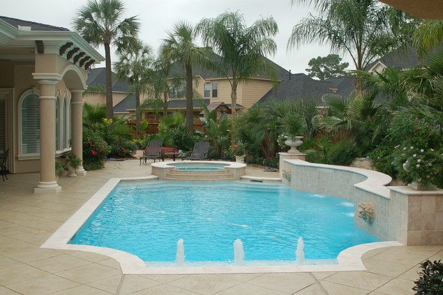 Cypress custom pools grecian style pool clean for Simple houses design with swimming pool