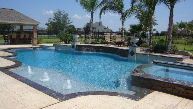 Cypress Custom Pools --- Grecian Style Showcase Pool W/ Slate, Stacked Stone mediterranean pool