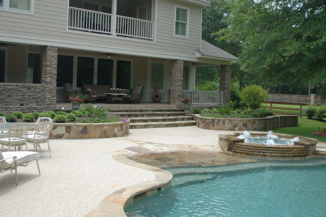 Cypress Custom Pools --- Lagoon Style Pool & Spa W/ Beach Entry tropical pool