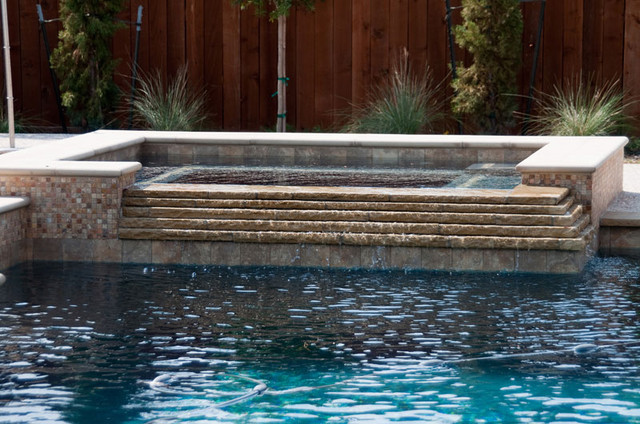 Inground Spas With Stack Stone : Cypress custom pools spa w cascading stacked stone